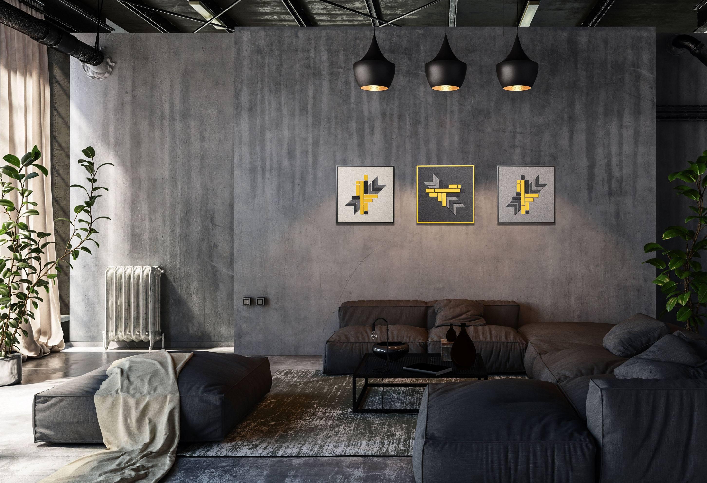 Cityscape artwork in urban living room