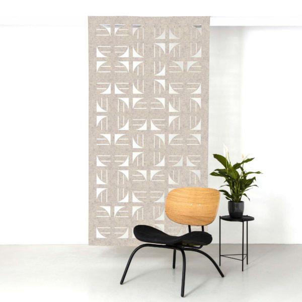 Beige brown flux hanging screen