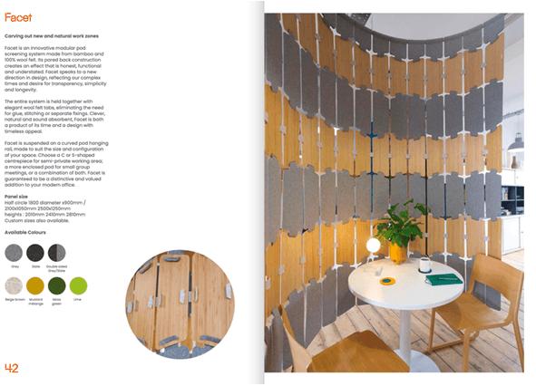 Facet modular hanging screen brochure
